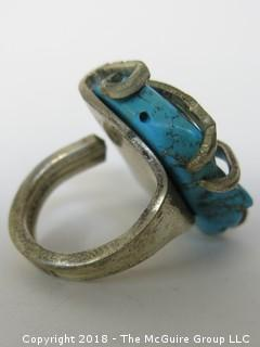 Large Asymmetrical Sterling and Turquoise Ring; unsized