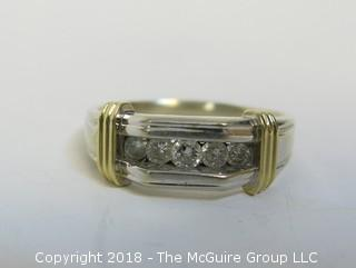 Men's 14K Two-Toned Gold Ring with 5 Channel Set Diamonds; total weight 12g