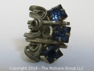 Men's Large (unsized) Ring, marked Modern Silver Plate
