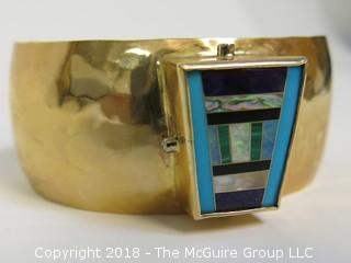14K Yellow Gold Hammered Cuff Bracelet with Raised Trapezoidal Geometric Inlay Including Turquoise, Opal and Malacite; Surrounded on Vertical Surfaces by Diamonds; total weight 92g