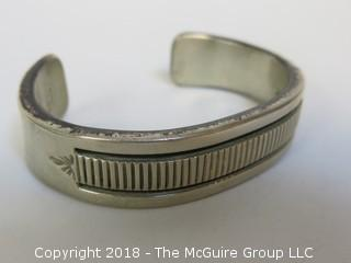 Men's Sterling Cuff Bracelet by Navajo Silversmith B Morgan; total weight 118g