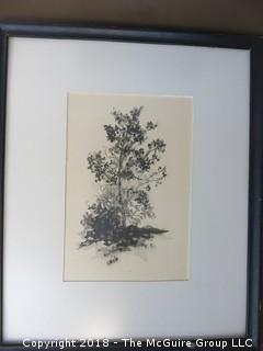 Black and White Woodblock Print; signed Glenelle