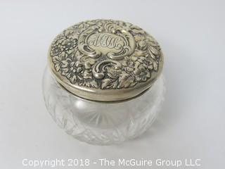 Monogrammed Sterling Lidded Glass Bowl; total weight 30g