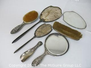 6 Piece Repousse Sterling Vanity Set (reinforced); total weight 1006g