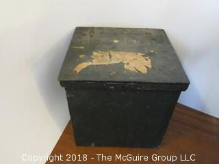 "Antique Wooden Hinged ""Wood Box""; 24W x 23D x 24""T"