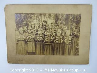 Vintage Photo of Elementary School Class in Exercise Class with Wooden Dumbells