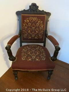 "Late 19th c Eastlake Arm Chair with Needlepoint Back and Seat; 27 1/2""W x 41""T"