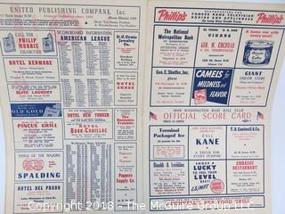 1950 American League Baseball Game Day Scorecard featuring Dom DiMaggio, Johnny Pesky, Ted Williams and Johnny Doerr  (Red Sox/Senators)