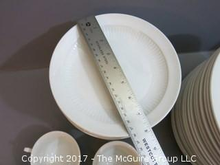 124 piece set of Adams English Ironstone China: 21 dinner plates, 21 salad plates, 21 bowls, 32 saucers, 3 sauce bowls,  24 cups, 2 misc. small plates