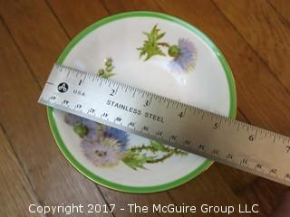 "94 piece Royal Doulton ""Glamis Thistle"" pattern china; includes 12 dinner plates, 12 salad plates, 12 small plates, 16 side plates, 11 bowls, 2 platters, 3 demi tasse cups/saucers, 14 cups/saucers, tea pot, cream and sugar, 9 additional pieces"