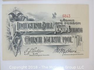 March 4, 1901 Inaugural Ball Ticket and Evening Program, President McKinley, Pension Building, WDC