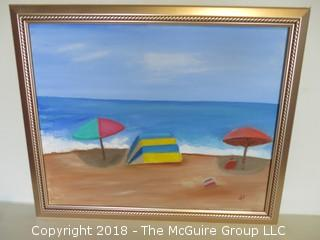 Seascape; Oil on Canvas; signed lower right; image size 16 x 19 1.2""