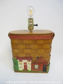 "One of a Kind ""Up-Cycled"" Basketville Purse Turned Into Lamp (Edison style bulb not included)"