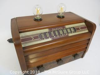 "One of a Kind ""Up-Cycled"" Art Deco/Mid-Century Radio Turned Into Lamp (Edison style bulb not included)"
