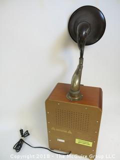 "Working AM/FM ""Antique style"" radio with big horn bolted to the top; original speaker in the front grill, and a new ""up-firing"" midrange speaker mounted below the horn"