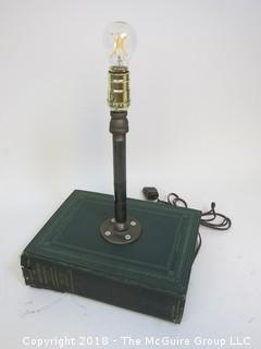 One of a Kind Lamp with Encyclopedia Base and Industrial Flair (Edison style bulb not included)