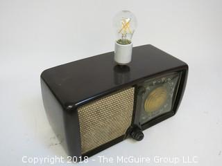 """One of a Kind """"Up-Cycled"""" Art Deco/Mid-Century Radio Turned Into Lamp (Edison style bulb not included)"""