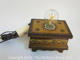 One of a Kind Wooden Box Turned Into Lamp (Edison style bulb not included)