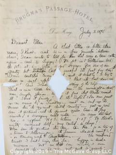 """Old Paper: Collection including 1896 letter from Brugma's Hotel, """"daa Naag"""", Vietnam; 1891 letter from Northampton, MA to WDC; 2896 letter postmarked Baltimore, MD; letter from Hotel Oriente, San Francisco; letters 1892, 1893 and 1913"""