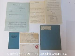 Old Paper: Mt. Holyoke College materials, South Hadley, MA;  1907, 1914, 1915 and 1924