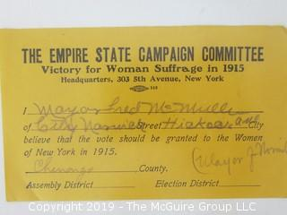 Old Paper: 1915 Women's Suffrage Campaign Materials in New York   Note: Jane Olcott of Glencarlyn (Arlington), VA graduated from Mount Holyoke College in 1909, and served as Executive Secretary, 1913-14, of The New York State Suffragists; and in 1915 traveled the State as an political activist for the 1915 campaign.
