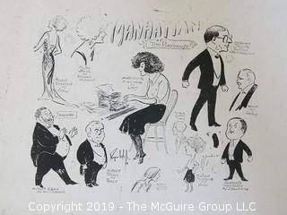"""Old Paper: """"Manhattan At The Playhouse""""; possibly the original sketch for the playbill; see link:  http://www.playbill.com/production/manhattan-playhouse-theatre-vault-0000009485"""
