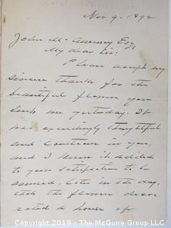 """Old Paper:  Nov. 9, 1892 Letter hand written and signed by U.S. President, Grover Cleveland to Col. McAnerney, stationary embossed """"12 West Fifty First St""""., New York, New York   Note:  On Nov. 8, 1892, Grover Cleveland became the first and only U.S. President to be re-elected in non-consecutive terms.  This letter was written the day following his election.  Col. McAnerney obit of March 23, 1928 in the NY Times begins: """"railroad organizer, former President of the Seventh National Bank and """"Savior of Richmond"""" died at 89.  Services will be held at St. Patrick's Cathedral, Fifth Ave., of which he was formerly trustee and Treasurer.  Born in Providence. R.I., he went to New Orleans when he was 12 and learned the iron trade.  When The Civil War began, he received a commission in the Confederate Army and advanced rapidly, and at the close of the War, when he was 25, was Colonel of Company G, Defenders of Richmond."""