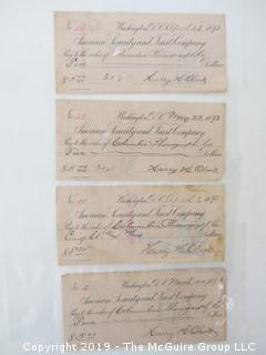 Old Paper: (4) 1893 checks payable to: Columbia Phonograph Co.