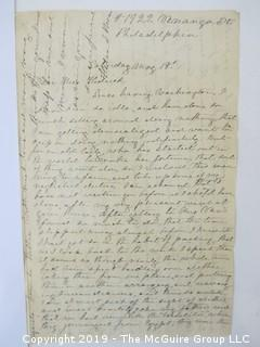 Old Paper: late 19th c letter written from Paris, France and addressed to someone in Philadelphia