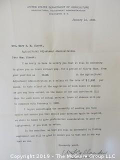 Old Paper: 1936 US Department of Agriculture notice of the Agricultural Adjustment Act of employee layoffs.