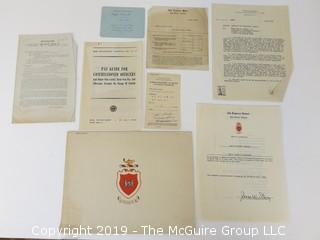 Old Paper: Collection including US military documents of John H. Olcott, including 1945 certificate of completion of the Engineers School at Fort Belvoir, VA
