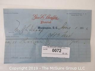 Old Paper: 1916 Business Receipt. Washington DC