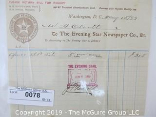 Old Paper: 1899 Business Receipt: The Evening Star Newspaper Co., WDC
