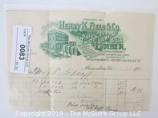 Old Paper: 1900 Business Receipt: Hanry K. Field and Co.