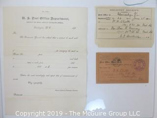 Old Paper: US Post Office ephemera; including 1880's unused stationary