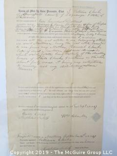 Old Paper: 1847 Land Rights; Newtown, CT
