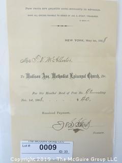 "Old Paper: 1888 ""Pew Rent""; Madison Ave. Methodist Church, NY, NY"