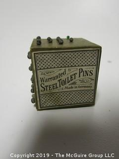 "Pin Cube; Warranted Steel Toilet Pins; Made in Germany by H.F. Neuss; 2 1/8"" cube"