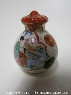 "Japanese Hand Painted Ceramic Salt Shaker; 2 1/2"" tall"