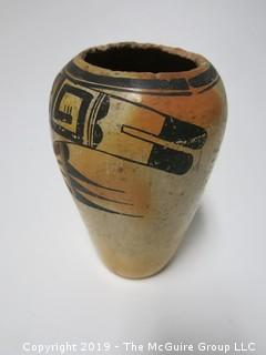 """Early Ceramic Vase with traditional handpainted design; possibly Navajo; 6 3/4"""" tall"""