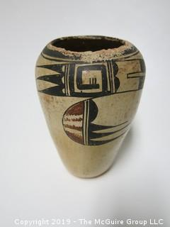 "Early Ceramic Vase with traditional handpainted design; possibly Navajo; 6 3/4"" tall"