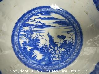 "Blue and White Hand Decorated Ceramic Bowl (Note: chip on rim); 9 1/2"" wide at rim"