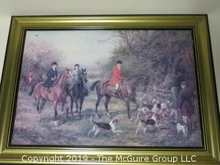 """Hunt Scene""; framed print under glass; signed lower right, but illegible; 28 x 38"""