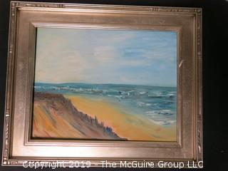 """Oceanfront""; signed ""MG"" lower right; acrylic on canvas; framed; 14 x 18"""