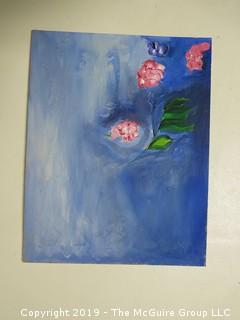 """Flowers on Water""; artists board; unsigned; 11 x 14"""