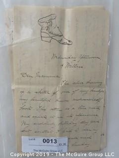 Handwritten Letter, circa 1890 from Smith College student, includes fashion sketches