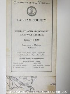 """""""Primary and Secondary Highways of Fairfax County""""; 1956"""