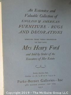 "Parke-Bernet Gallery 1951 Sales Catalog with Prices Attained; ""English and American Furniture, Rugs and Decorations from the Estate of Mrs. Henry Ford;"