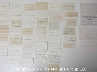 Collection of family calling cards as well as 1873 wedding invite