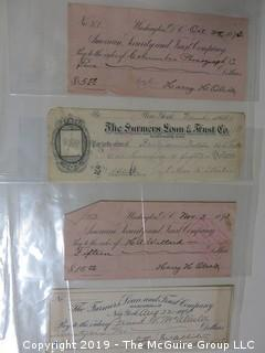 4 checks from the 19th century, including 1885